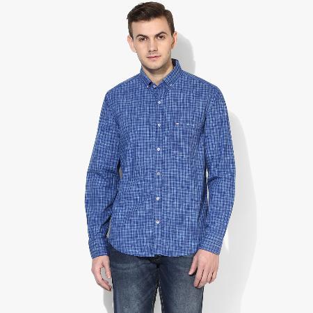 7230ae779 Blue Checks Regular Fit Casual Shirt For Mens