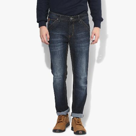 5ebc5101f8 Dark Blue Narrow Fit Scrapped With Whiskers Denims